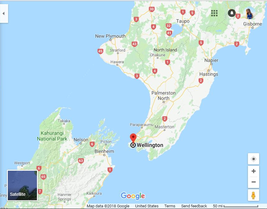 Map of Wellington Region, New Zealand