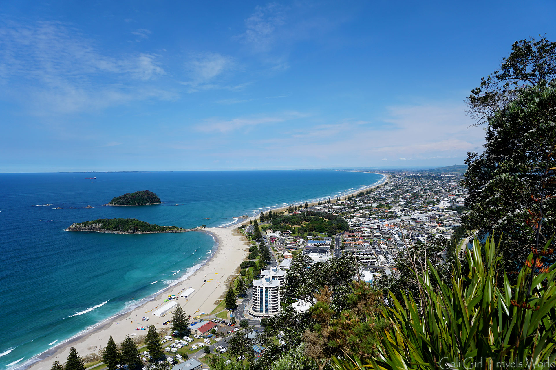 At Mount Maunganui Summit with a beautiful view of Tauranga below, in the North Island of New Zealand.