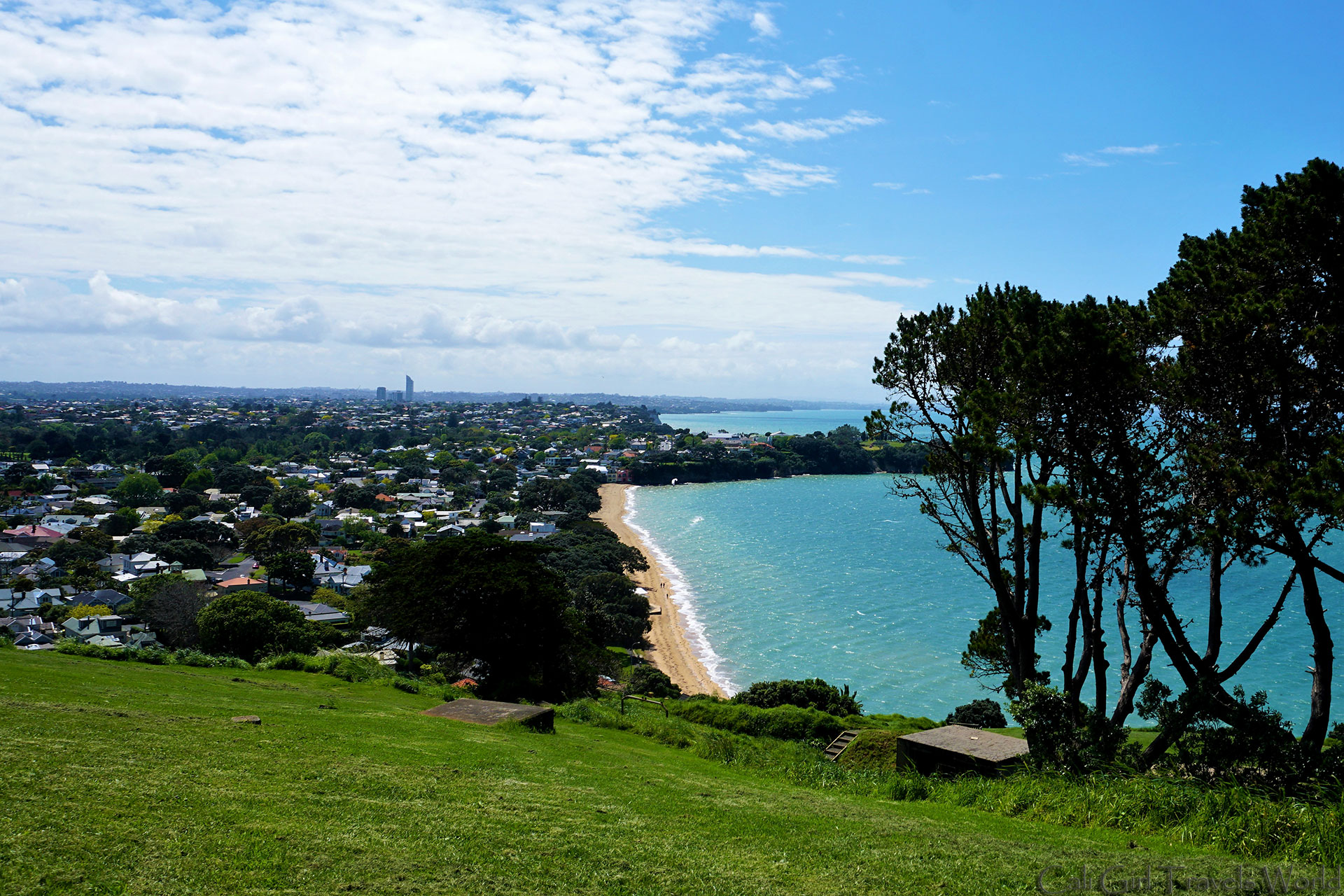 Suburbs of the Northshore in Auckland city from above in Mount Victoria New Zealand.