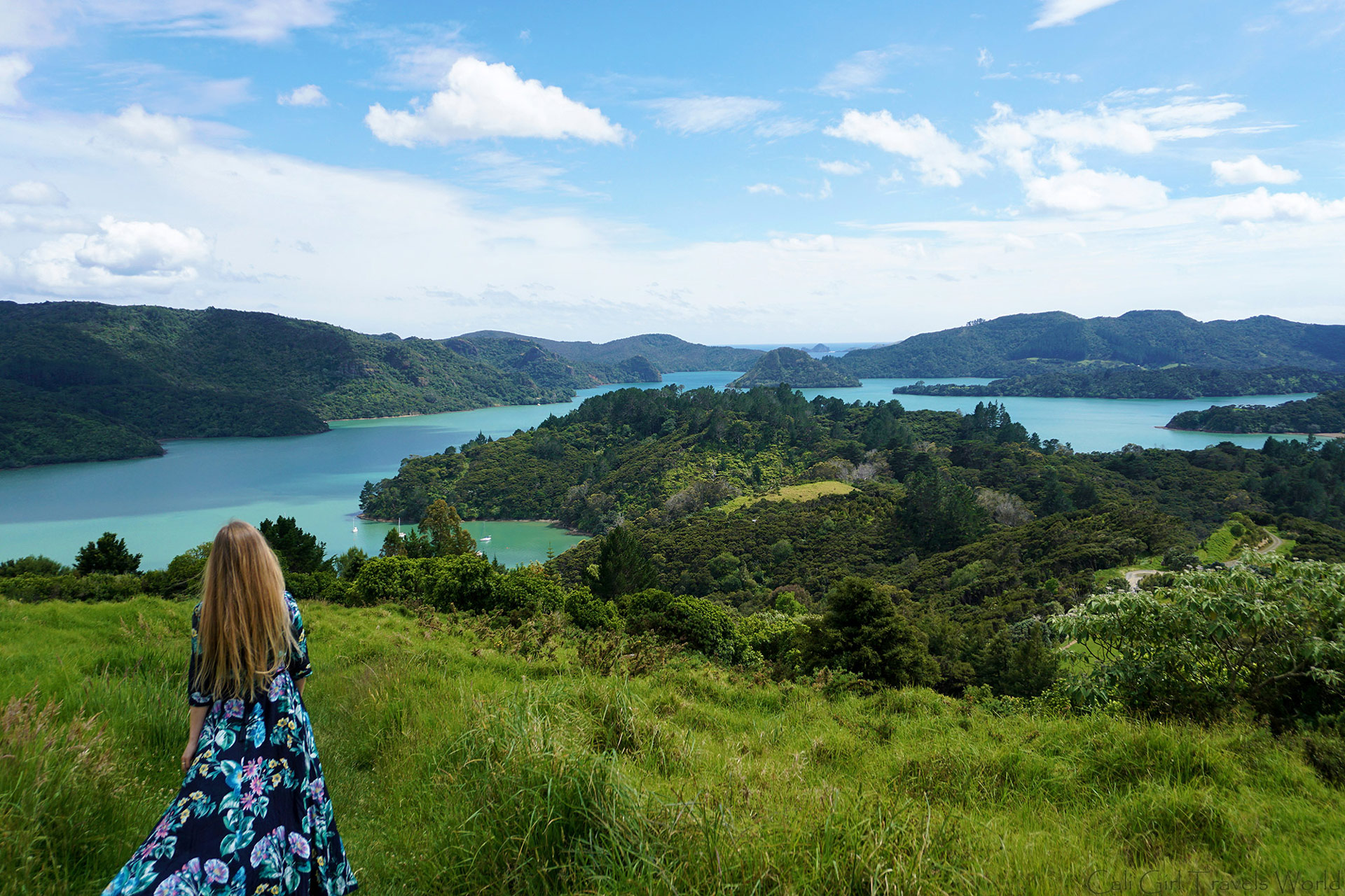 Walking down from St Paul's Rock Hike in Whangaroa, Northland within the North Island of New Zealand.