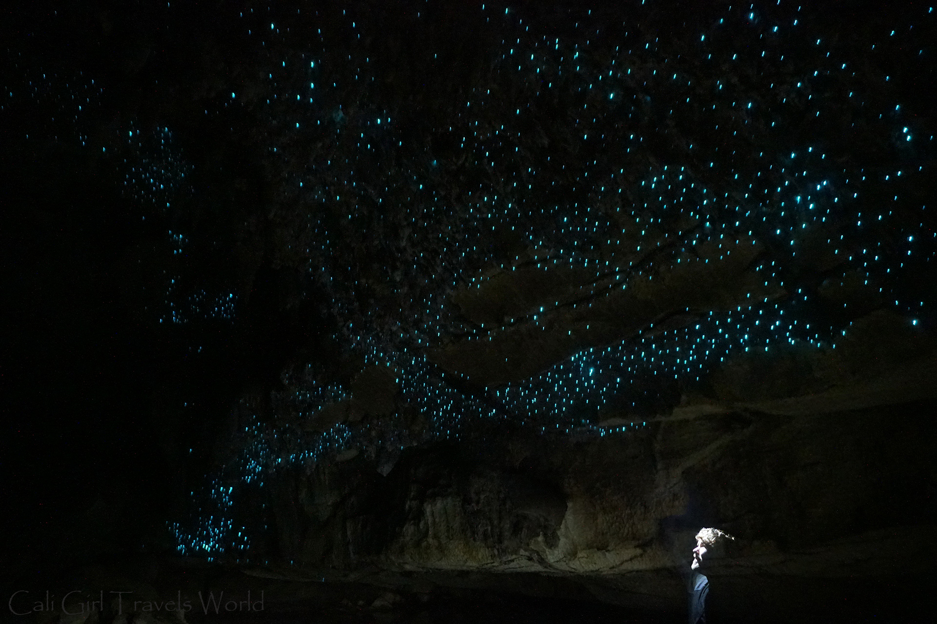 My husband Kevin looking up at the blue glow worms in a cave in Waipu, Whangarei in Northland, North Island.
