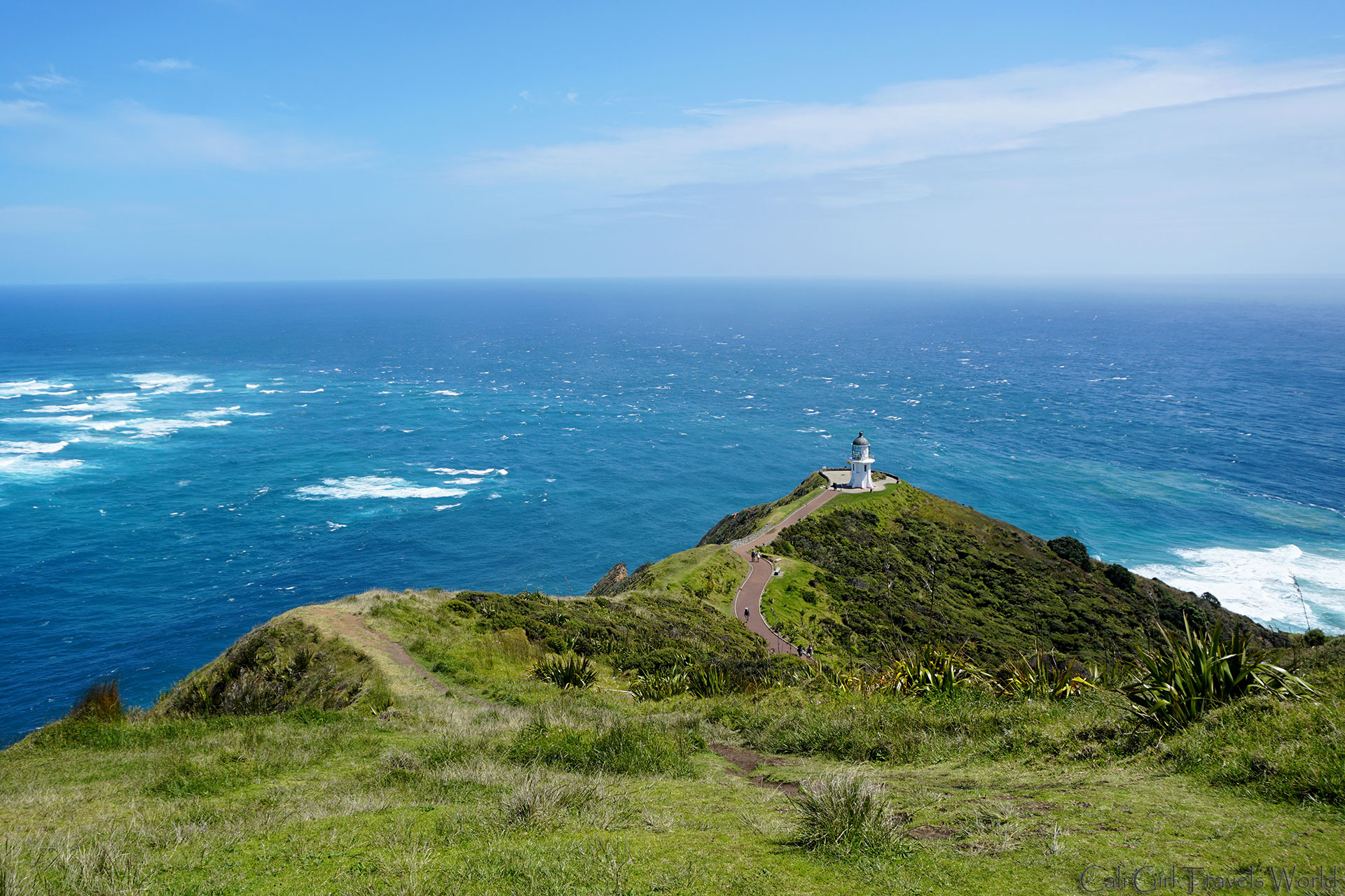 The Cape Reinga Lighthouse at the end of New Zealand.