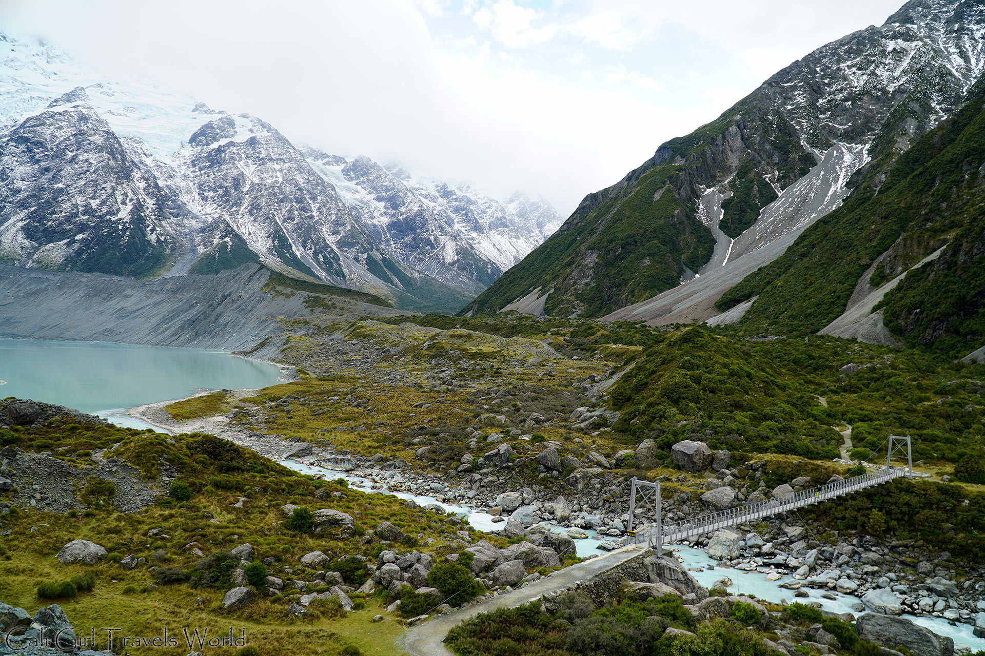 A view of the Hooker Valley Track in Mount Cook, Canterbury, South Island, New Zealand.