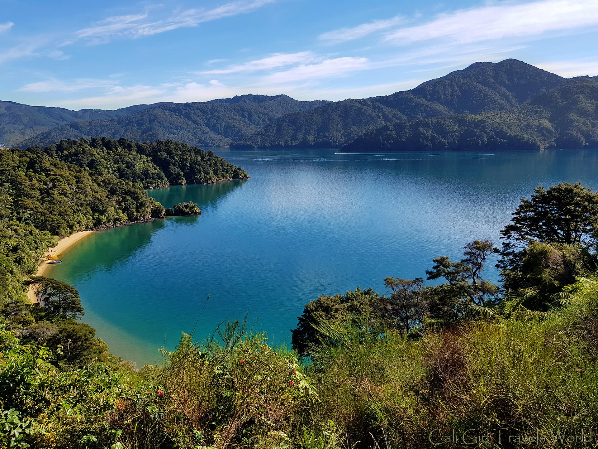 The beautiful Picton Sound in Queen Charlotte Sound in the Marlborough Sounds, with a hidden secret beach with kayaks at the bottom in South Island, New Zealand.