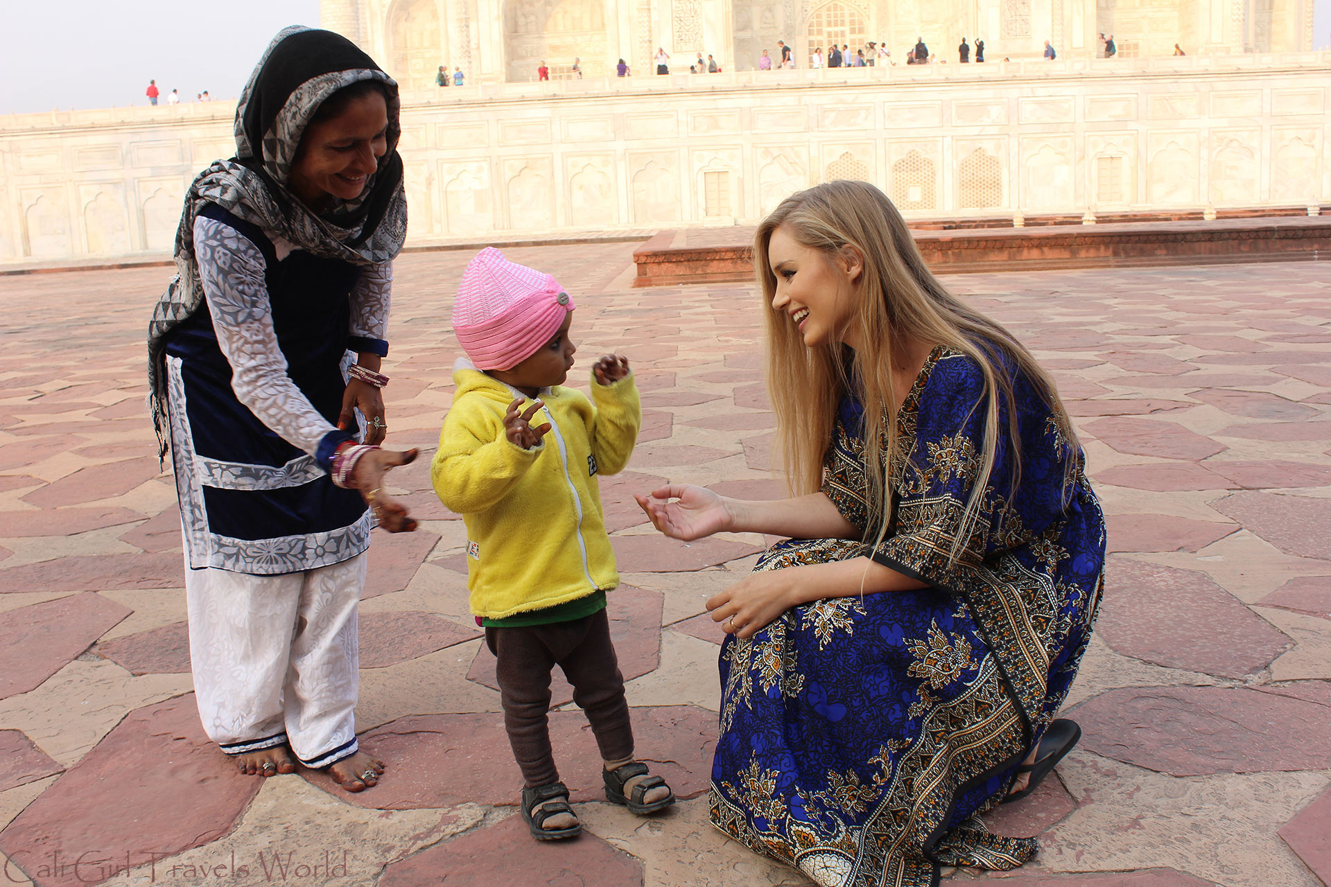 Welcoming locals coming to say hi at the Taj Mahal, India.
