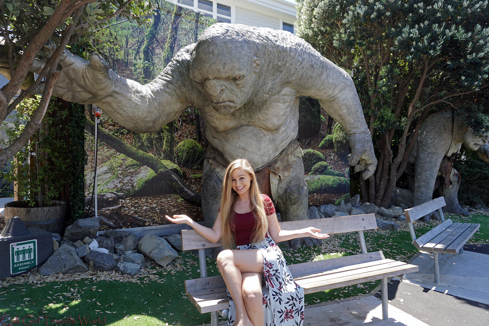 Sitting under a massive troll outside of Weta Cave Studios in Wellington, New Zealand