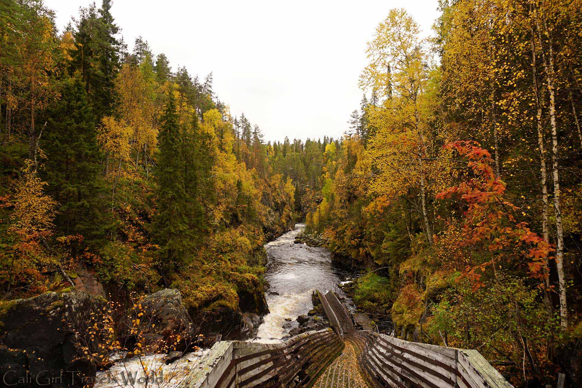 A old logging chute down the waterfall of Auttikongas near Rovaniemi, Lapland, Finland.