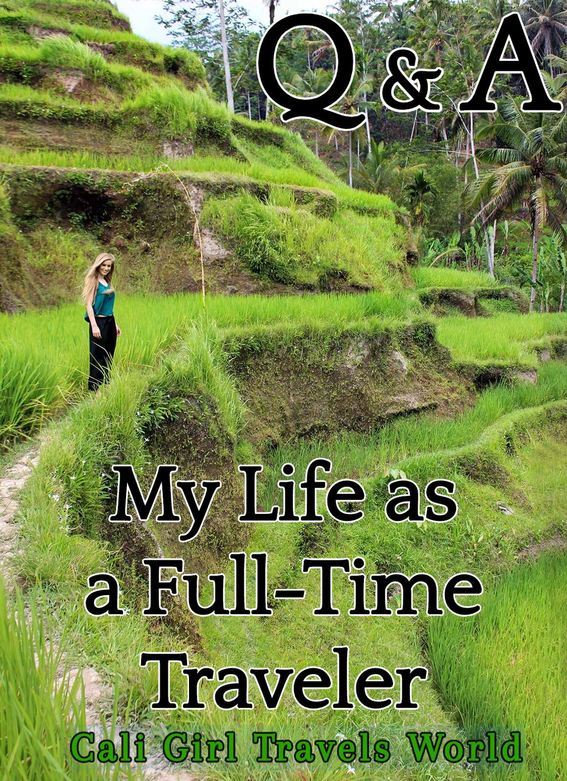 Travel Photographer and Writer stands in Rice Terraces in Bali, Indonesia.