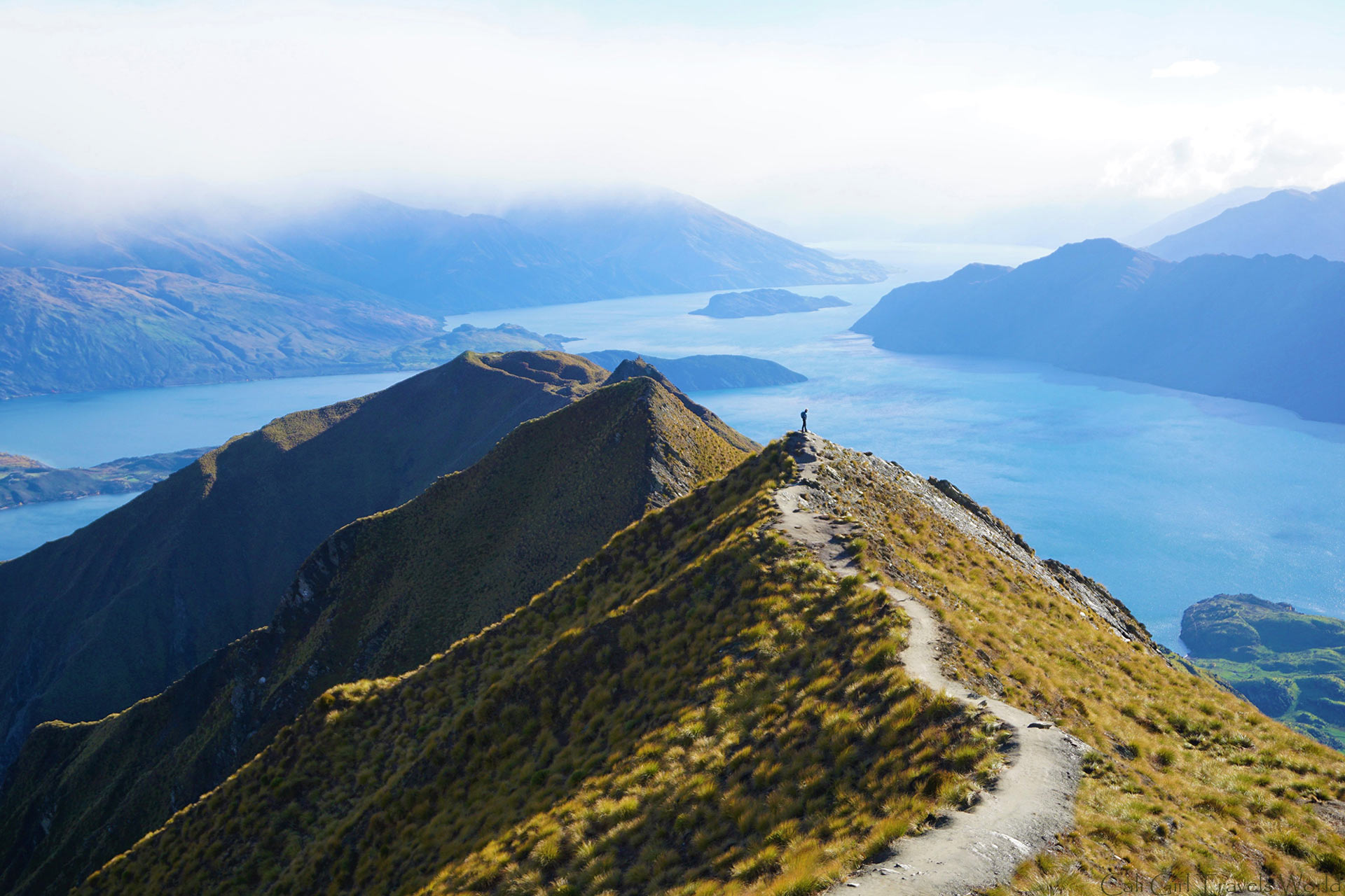Hiking to the top of roys peak with a spectacular view of Wanaka in the South island of New Zealand.