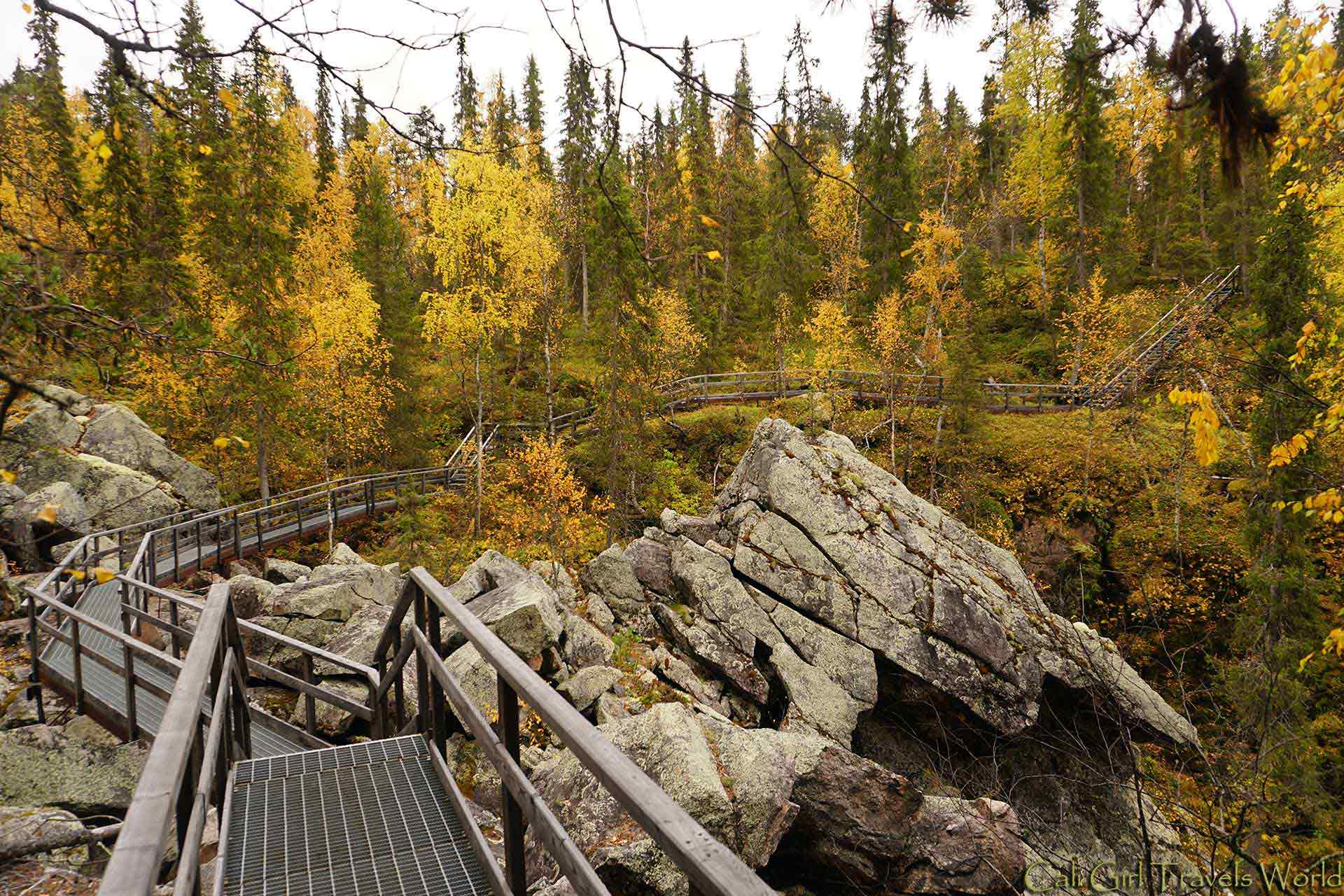 A pathway along the cliffs of the Finnish forest near Auttikongas waterfall