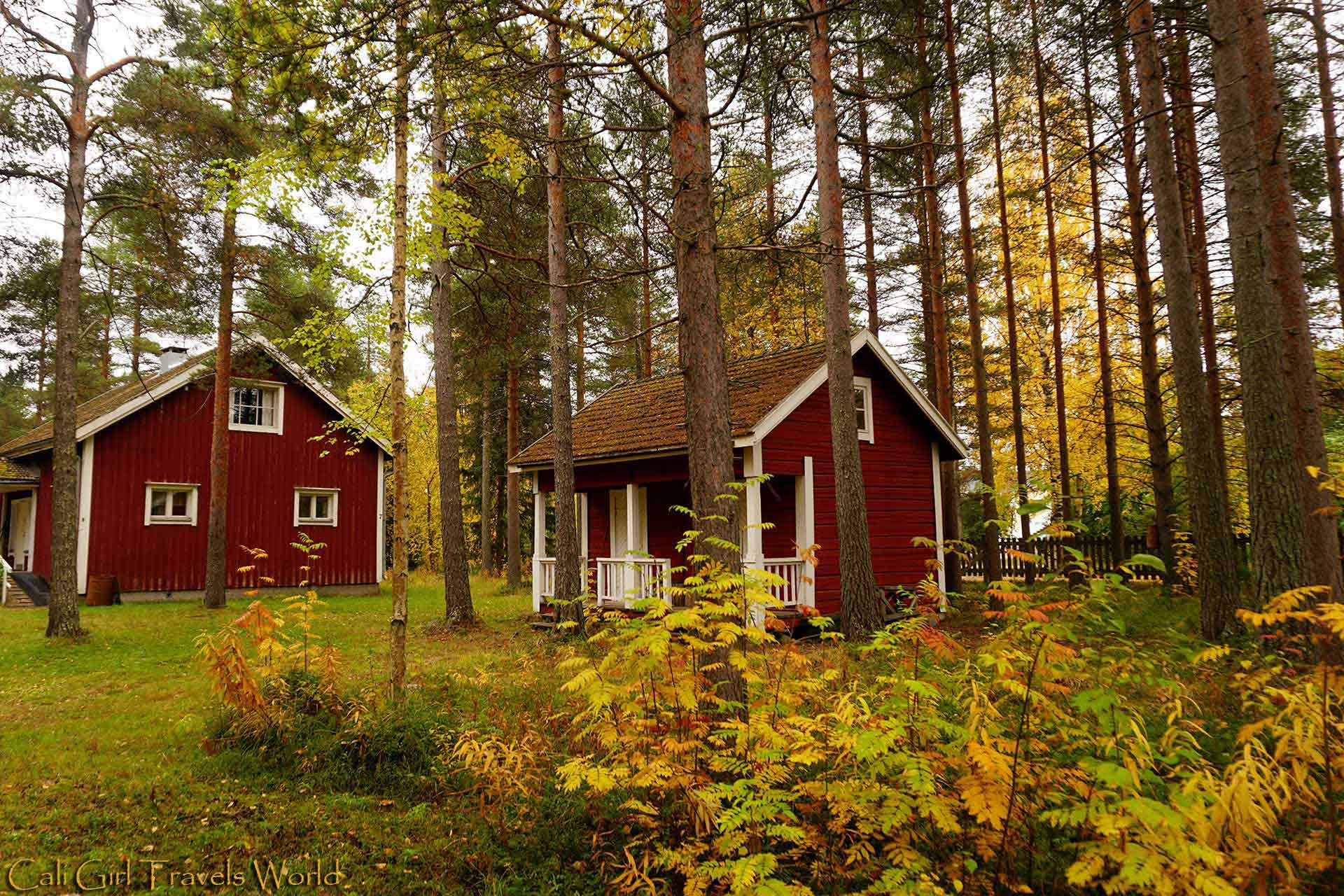 Two traditional ochre red buildings and homes that can be found throughout Finland.