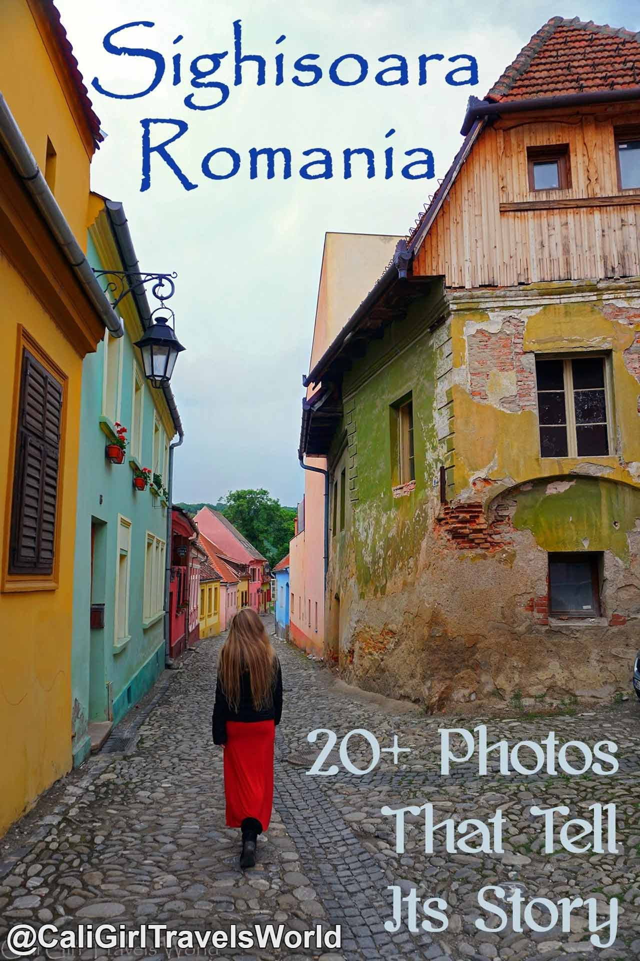 Walking down the colorful picturesque European streets of Sighisoara, Transylvania, Romania, a world heritage site.