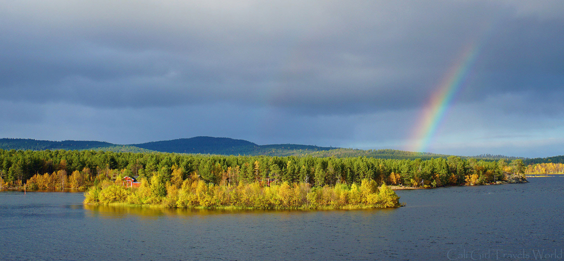 Double rainbow over Lake Inari in Lapland, Finland.