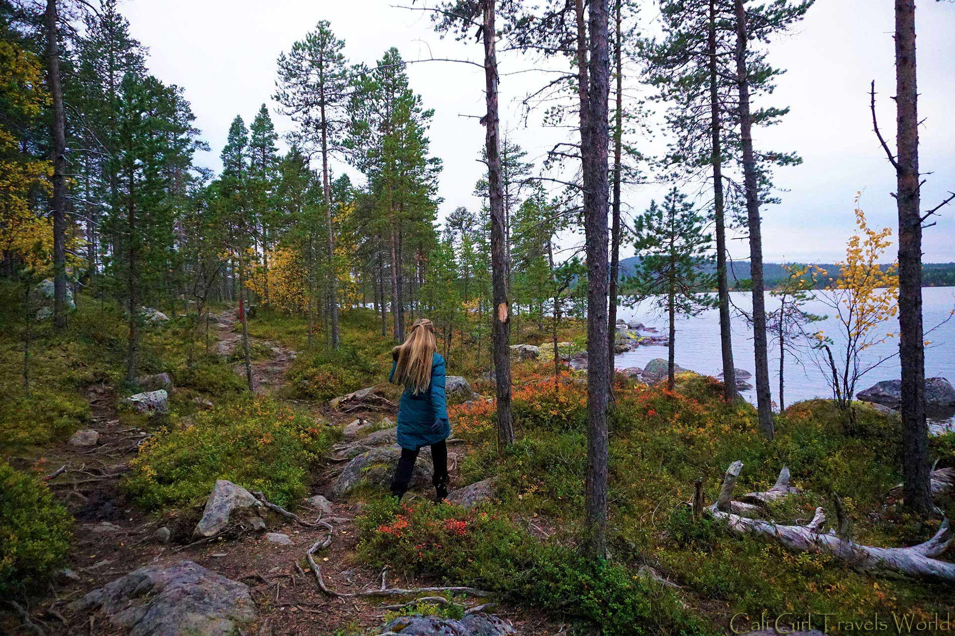 Travel blogger walking down a nature path in Inari, Finand surrounded by autumn colours.