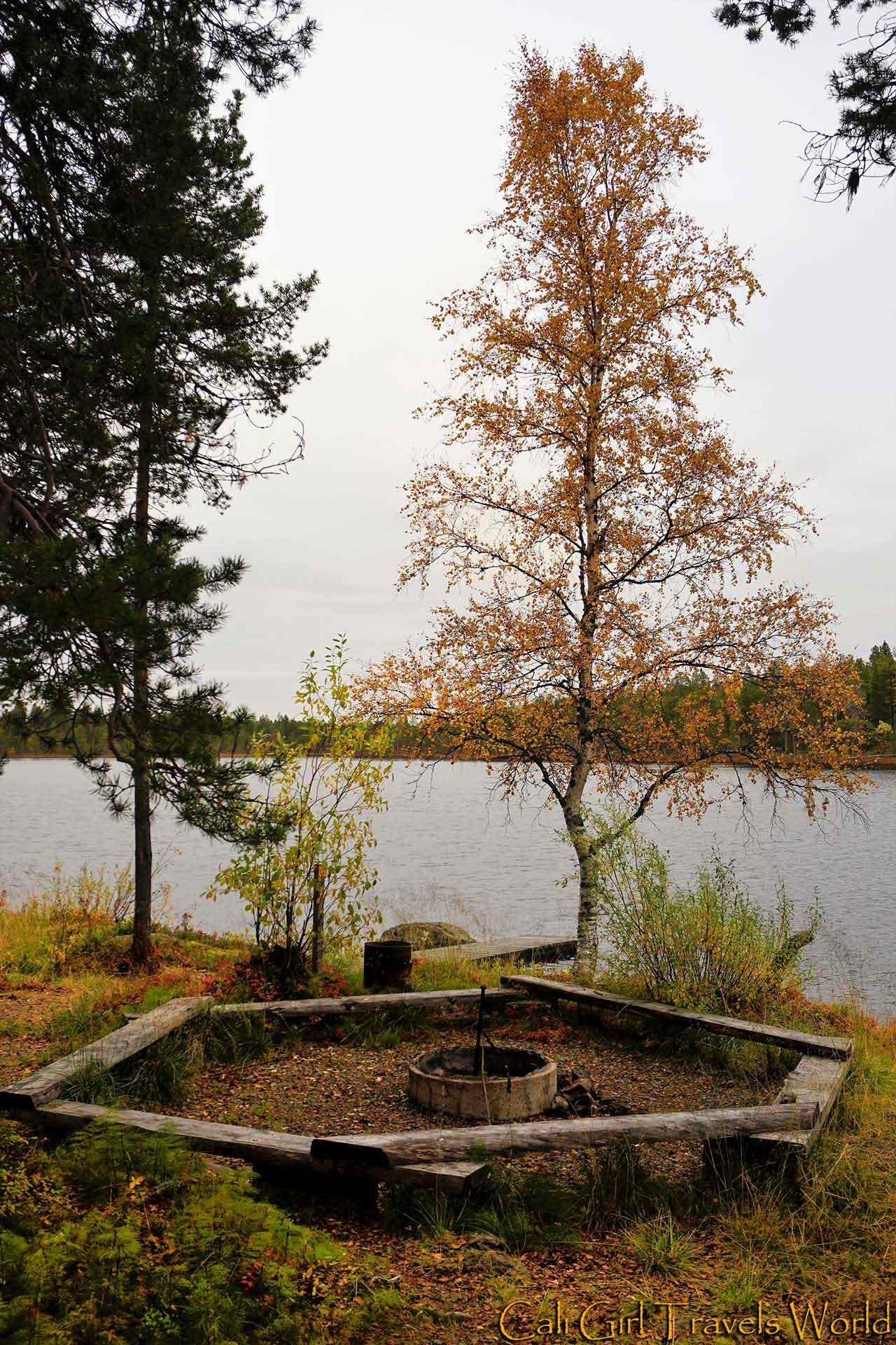Fire pit along a nature walk in Inari, Finland.