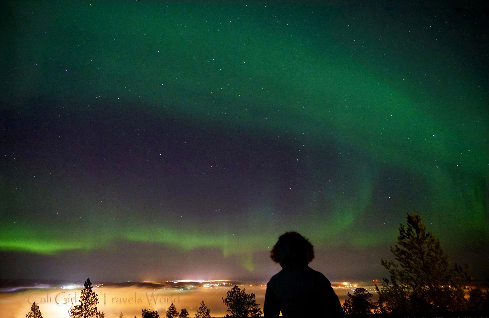 GoPro photo of the northern lights taken in the arctic circle, the aurora borealis is green.