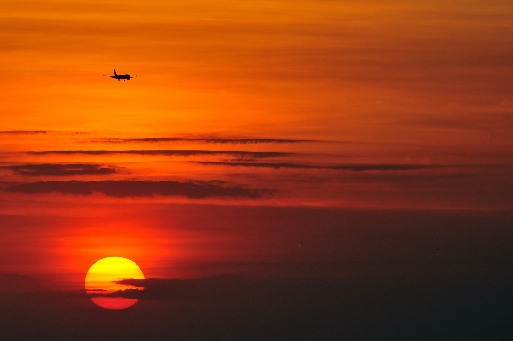 A plane flying over the clouds of a red and orange sunset.