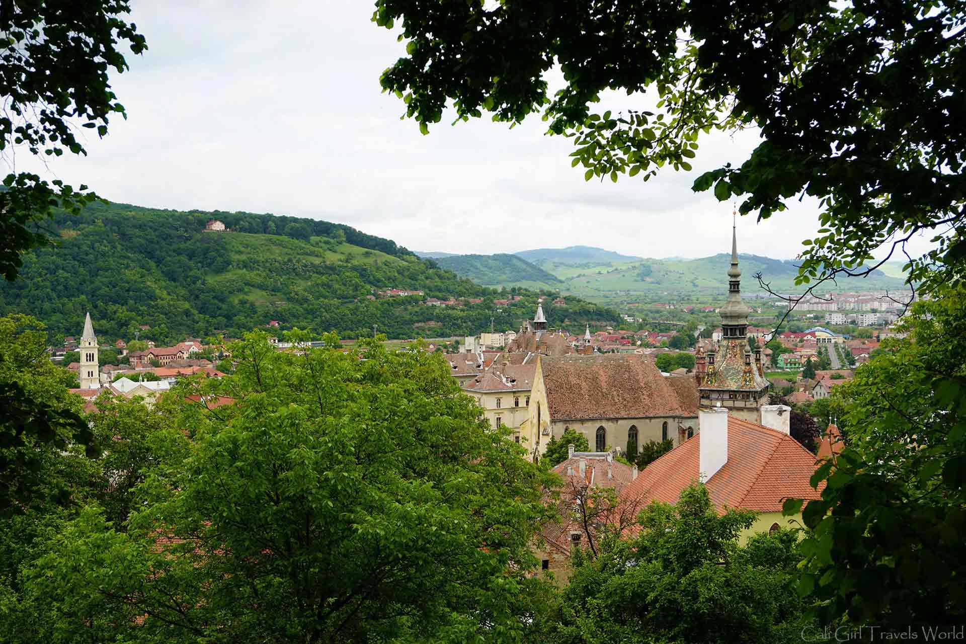 Standing at a view point looking out from the walled citadel of Sighisoara, Transylvania within Romania.