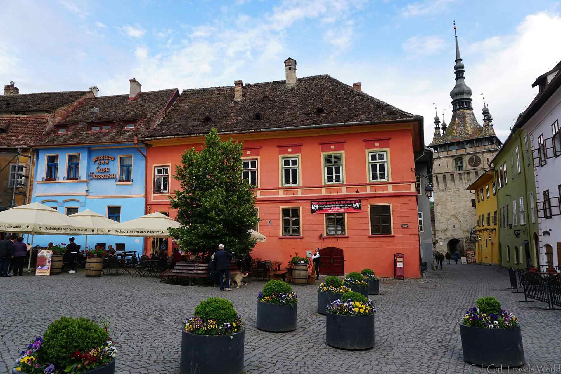 The main square in the UNESCO site of Sighisoara, Transylvania, Romania.
