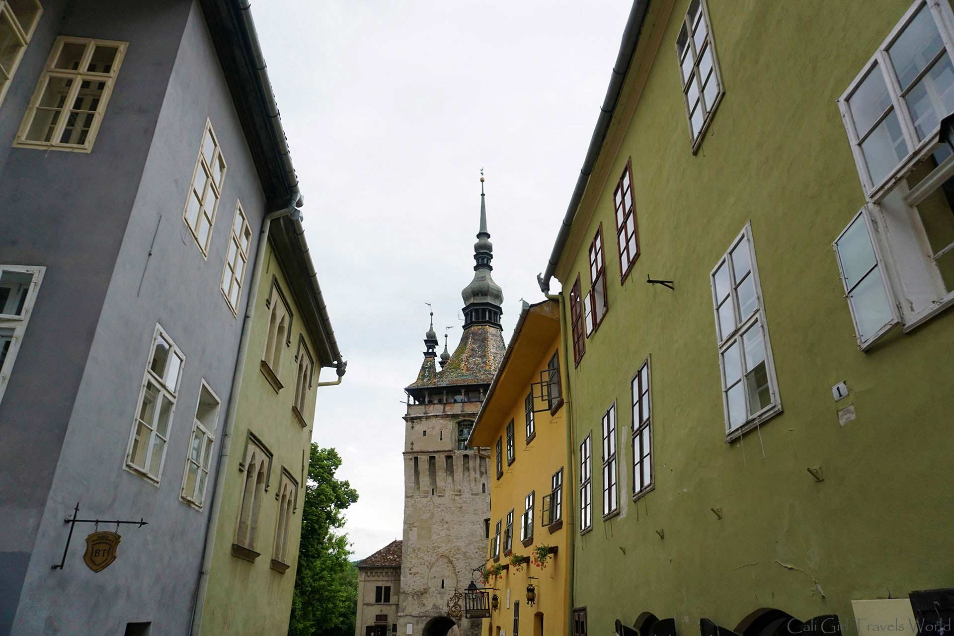 Colorful Buildings on a cloudy day in Sighisoara