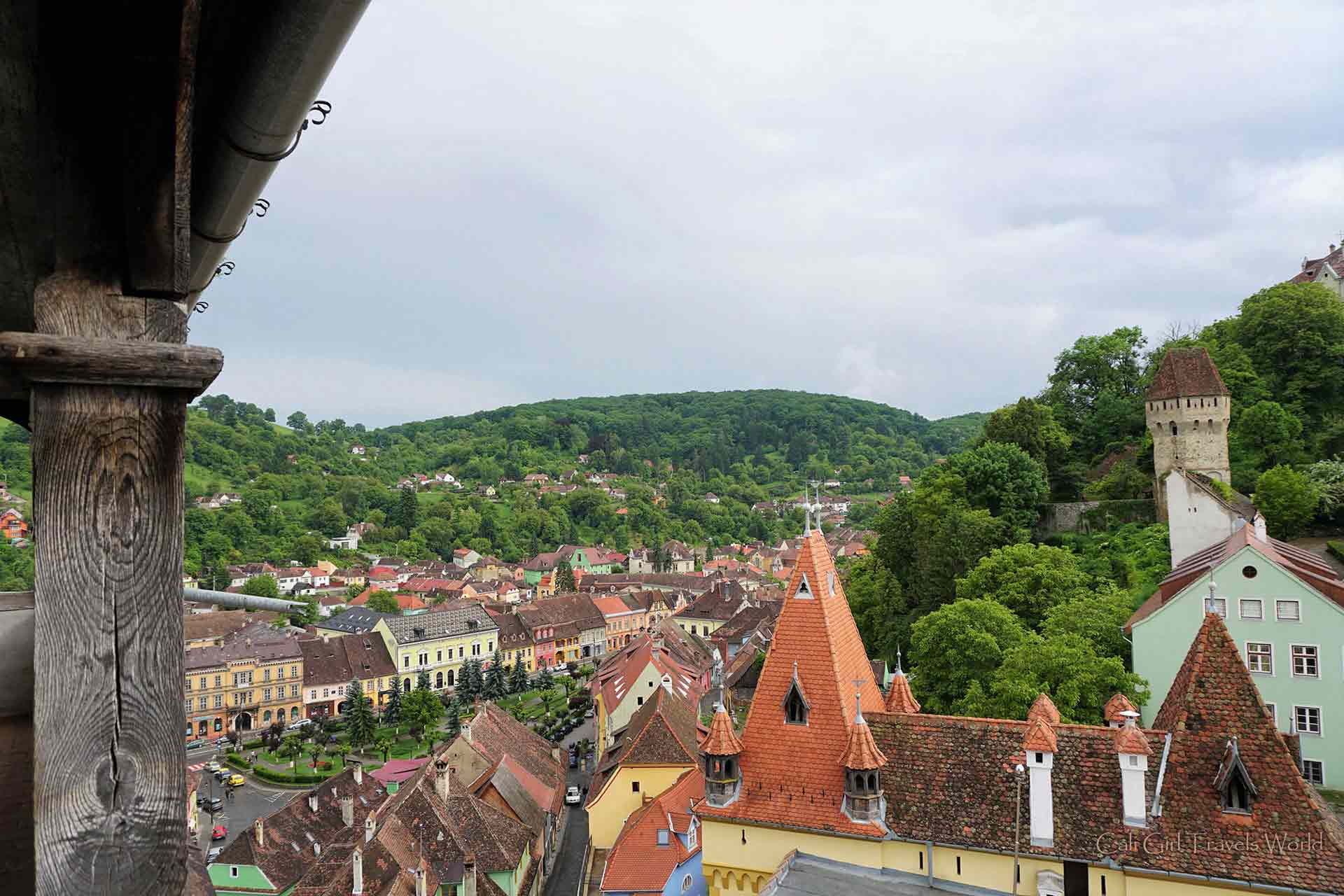 Pretty View overlooking the citadel of Sighisoara and all it's colorful european buildings.