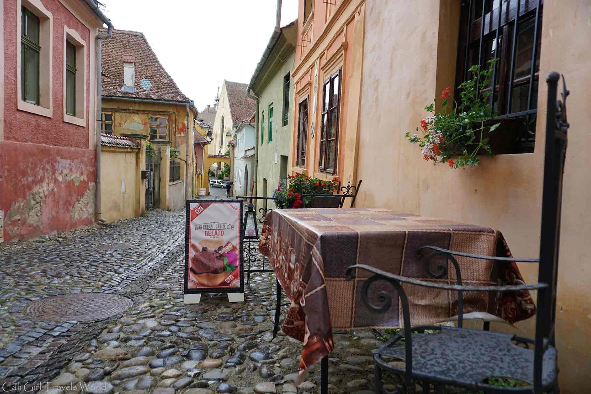 Down a backstreet of Sighisoara Romania at a little ice cream shop with home made gelato.