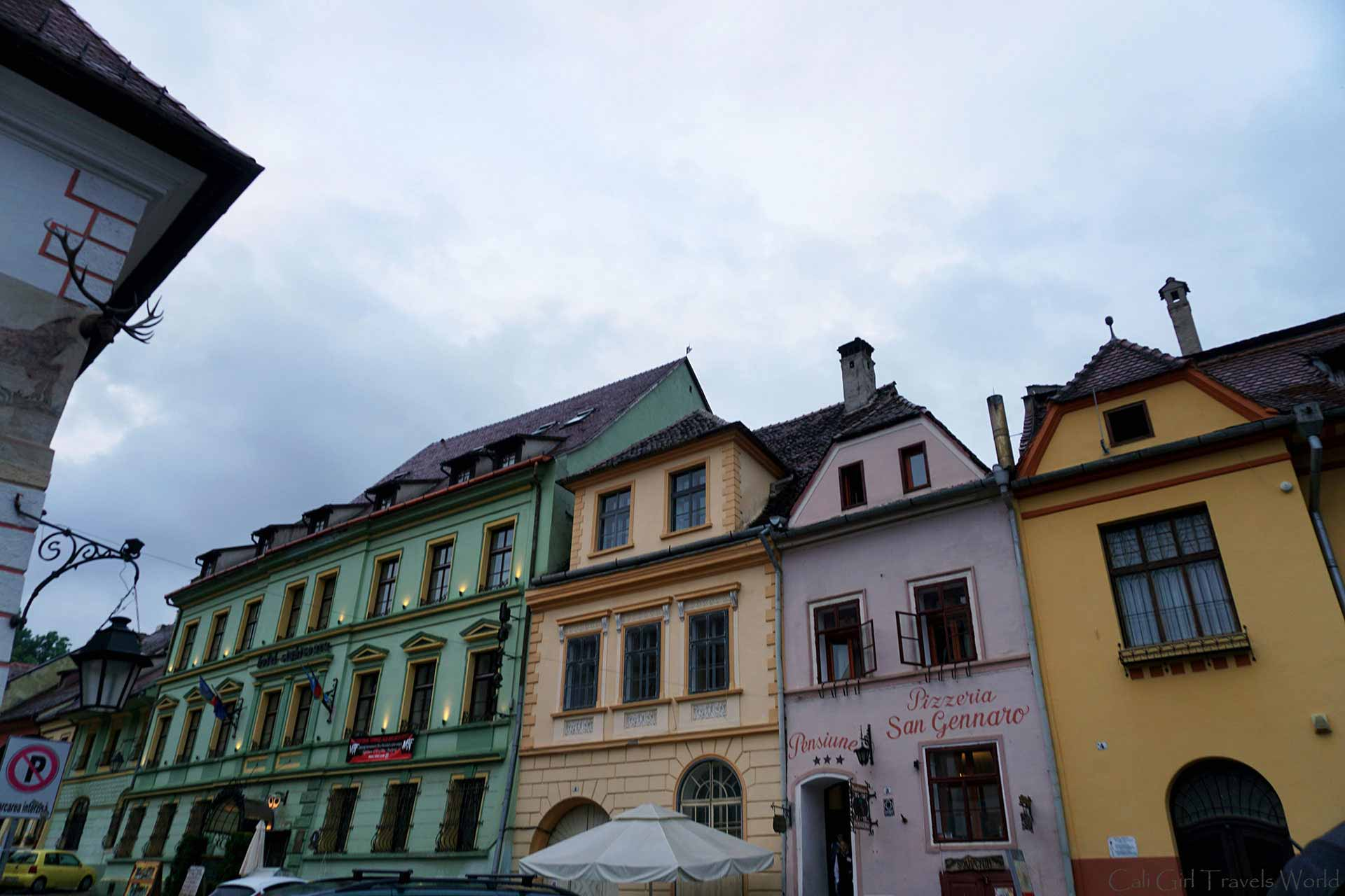 Photos of a few colorful resturants in Sighisoara, Transylvania including a pizzeria.