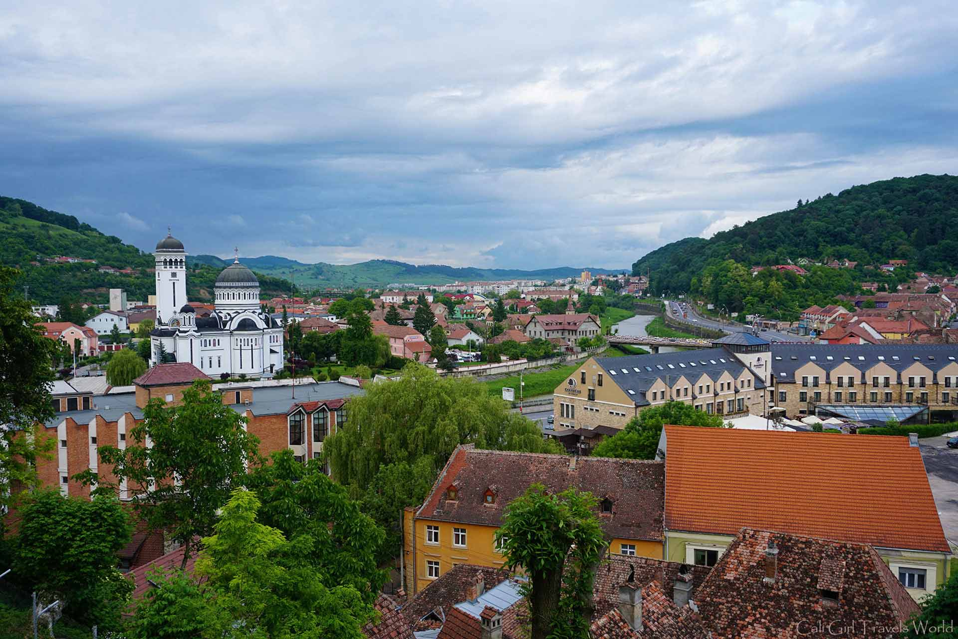 Looking out from the fortress of Sighisoara, Transylvania.